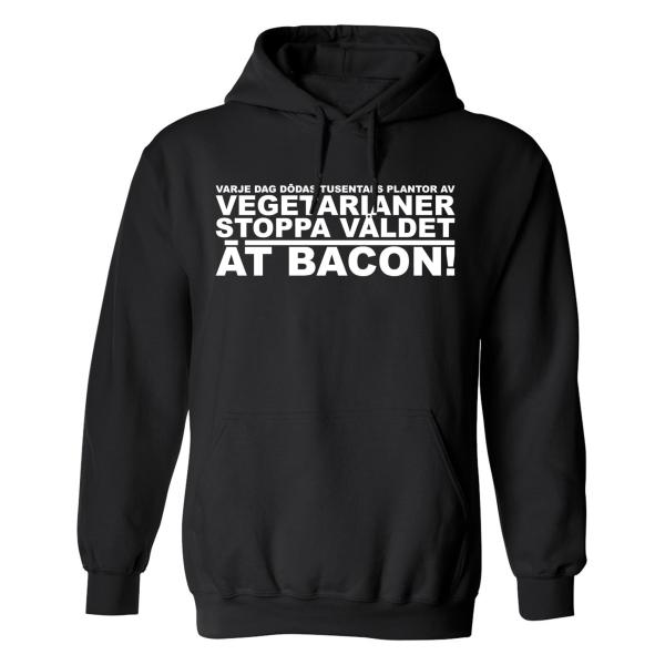 Stoppa Våldet Ät Bacon - Hoodie / Tröja - DAM Svart - S