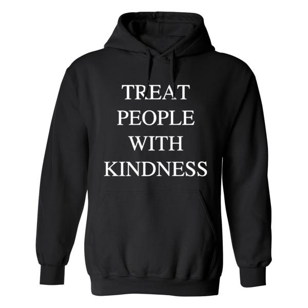 Treat People with Kindness - Hoodie / Tröja - DAM Svart - 3XL
