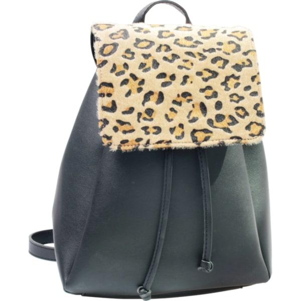 Svart ryggsäck med leopardmönster  Svart