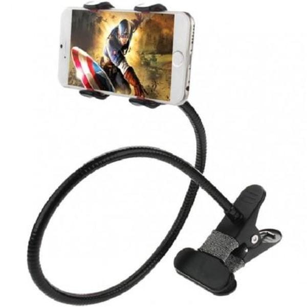 Flexibel lång mobilhållare med klämma Svart