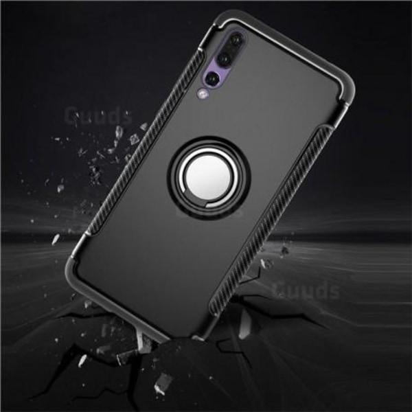 Huawei P20 Pro Praktisk Stöttåligt Skal med Ringhållare V2 Svart