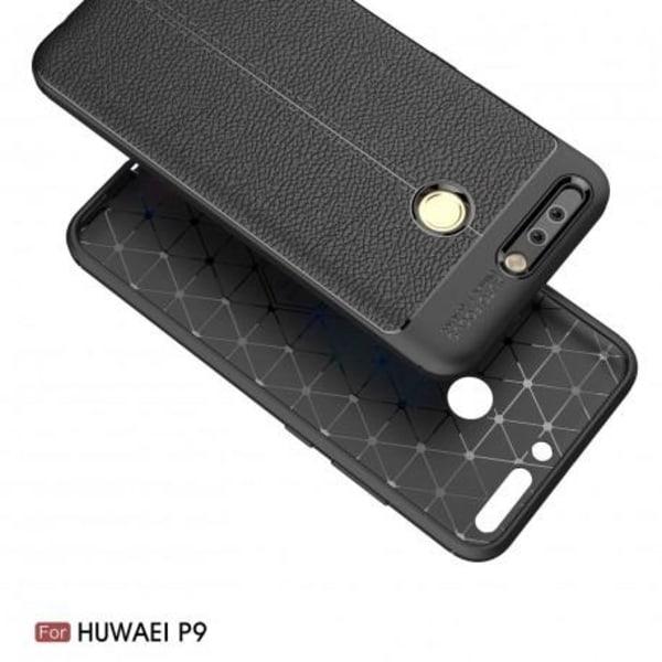 Huawei P9 Stöttåligt & Stötdämpande Skal LeatherBack® Svart