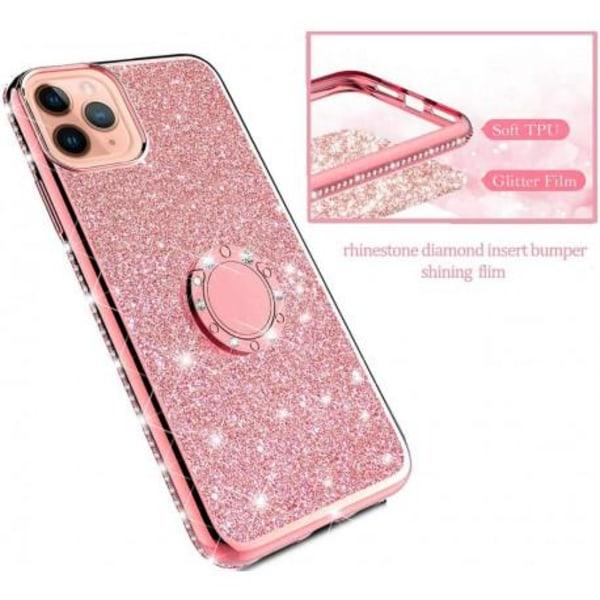 iPhone 11 Pro Max Stötdämpande Skal med Ringhållare Strass Rosa guld