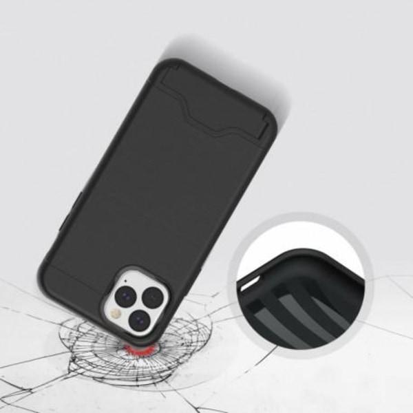iPhone 11 Pro Max Stöttåligt Skal med Kortfack & Kickstand Clutc Svart