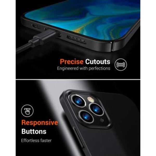 iPhone 12 Pro Ultratunn Gummibelagd Mattsvart Skal Basic® V2 Svart