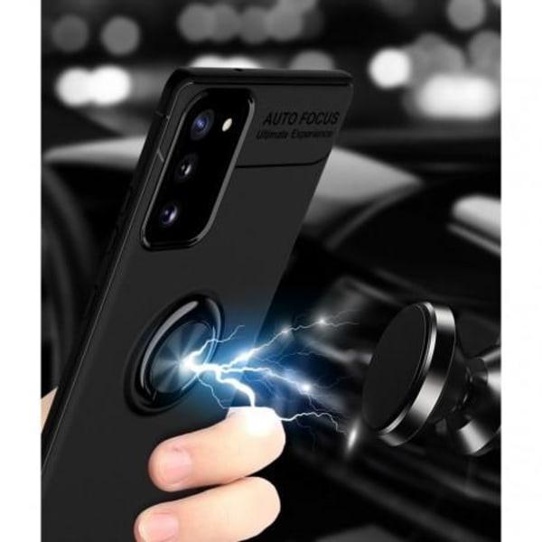 Samsung Note 20 Praktisk Stöttåligt Skal med Ringhållare V3 Svart