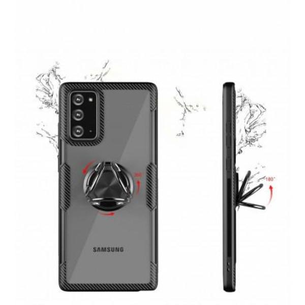 Samsung Note 20 Praktisk Stöttåligt Skal med Ringhållare V4 Svart