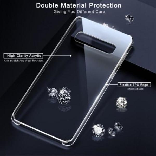 Samsung S10 Plus Stötdämpande Skal med Repfri Plexiglas Glassbac Transparent
