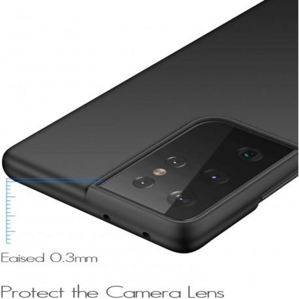 Samsung S21 Ultra Ultratunn Gummibelagd Mattsvart Skal Basic® V2 Svart