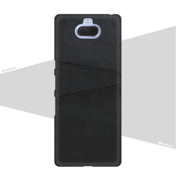 Sony Xperia 10 Stötdämpande Korthållare Retro® Svart