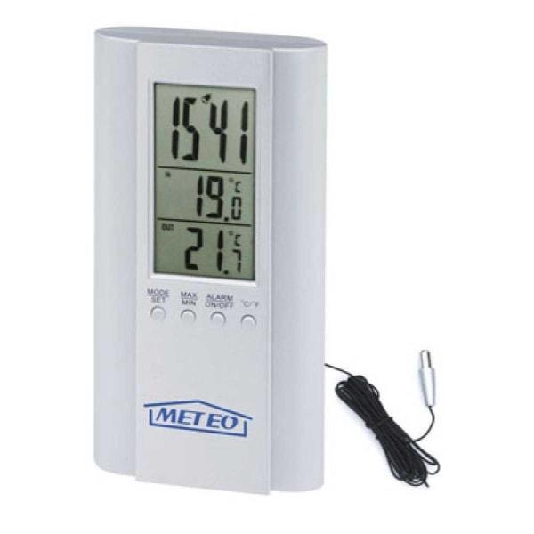 Digitaltermometer, ute/inne m klocka, Meteo Aluminium