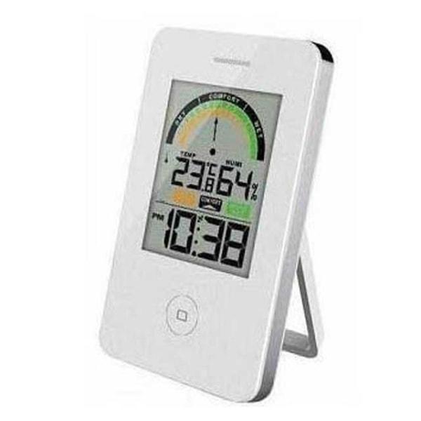 Hygrometer / Termometer m. klocka 214 Vit