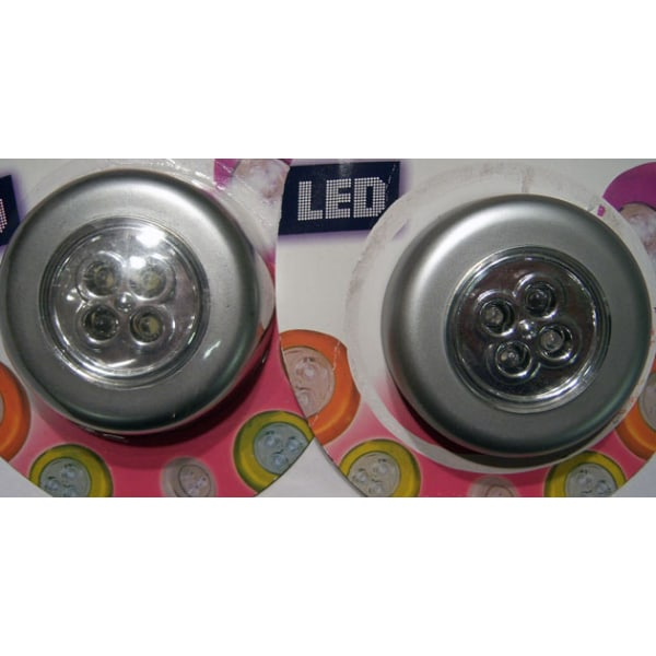 Trycklampa, 4 lampor LED, 3 pack Aluminium