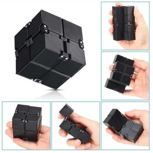 Infinity Cube Mini Toy Finger Anxiety Stress Relief Cube - Svart Svart