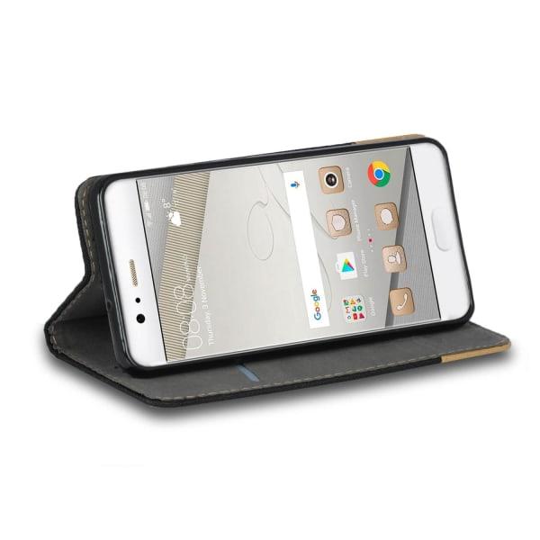 Denim Mobil-Skal för Huawei P10 Plus Konstläder Stötsäker Full C Svart