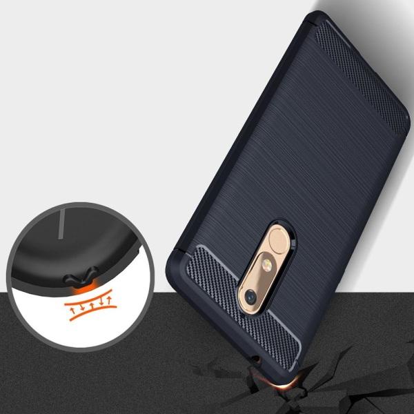 Enfärgat Kolfiber Skal för Nokia 5.1 Stötsäker Telefon Mobilskyd Mörkblå
