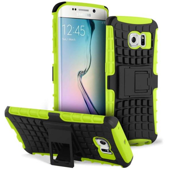 Halkfri hylsa med Kickstand för Samsung Galaxy S6 Edge Halkskydd Grön