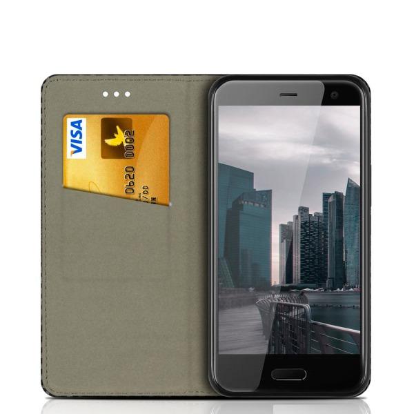 HTC U11 Life Kortfack Kolfiber För kreditkort Konstläder Magnetl Svart