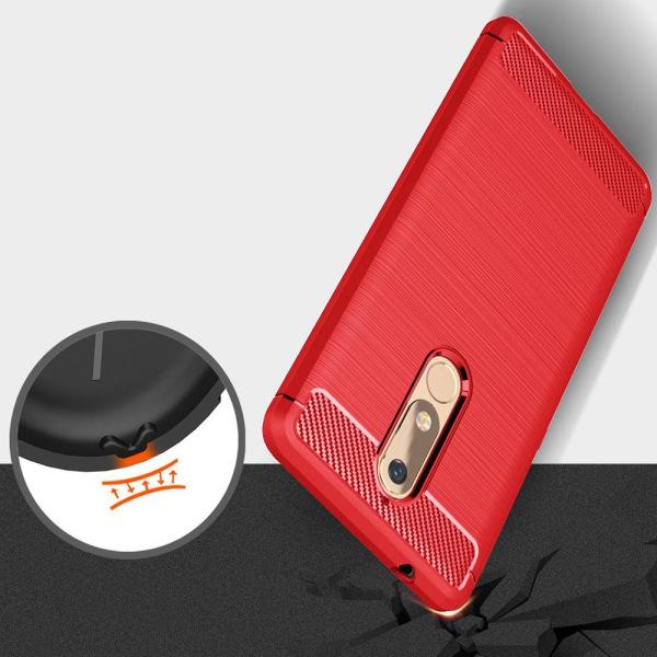 Mjukt Gummi Skal för Nokia 5.1 TPU Mobil Mobilskydd Enfärgat Kol Röd
