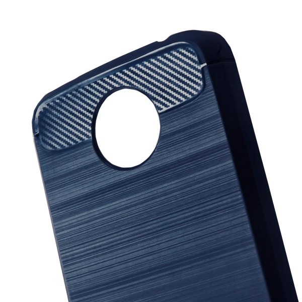 Skal till Motorola Moto C Plus Blå Kolfiber Armor Fodral Skydd Blå