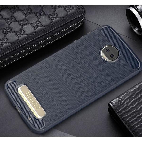 Skal till Motorola Moto Z2 Lenovo Fodral Skydd TPU Armor Kolfibe Blue