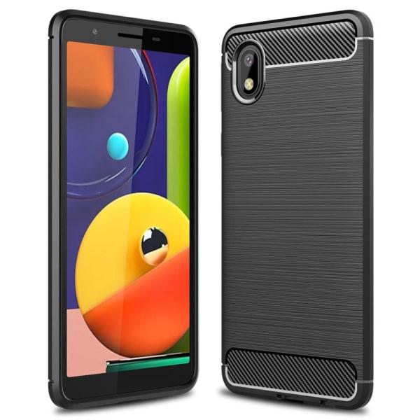 Soft Cover för Samsung Galaxy A2 Core | Kol Borstad Svart  Svart
