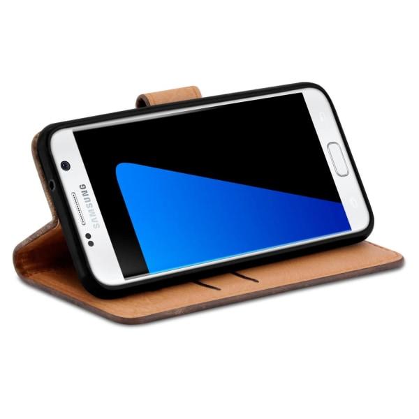 Vintage ärm med kortfack för Samsung Galaxy S7 Magnetlås Konstlä Brun