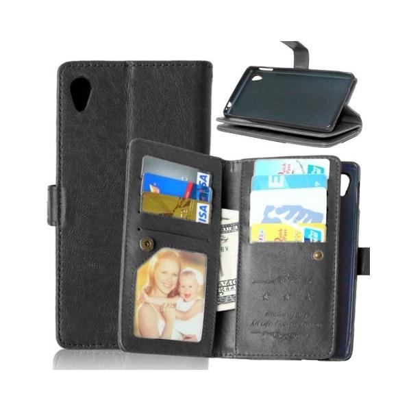 Dubbelflip Flexi 9-kort Sony Xperia M4 Aqua (E2303) Svart