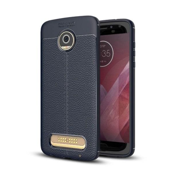 Läder mönstrat TPU skal Motorola Moto Z2 Play (XT1710) Blå