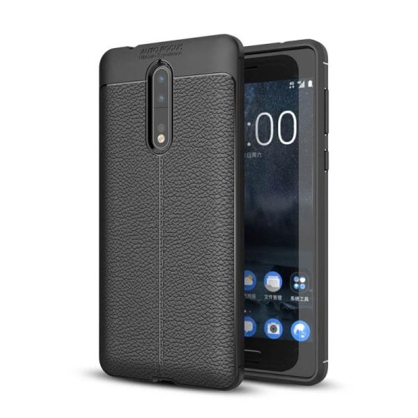 Läder mönstrat TPU skal Nokia 8 (TA-1004) Svart