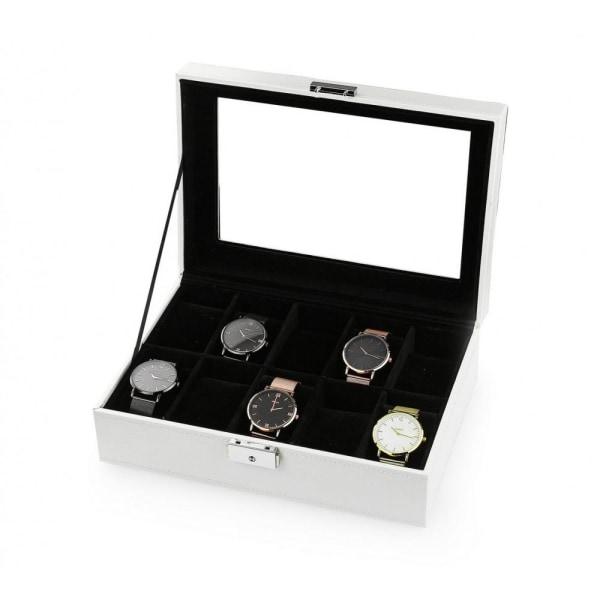 Klocklåda / Klockbox för 10 klockor Vit Vit