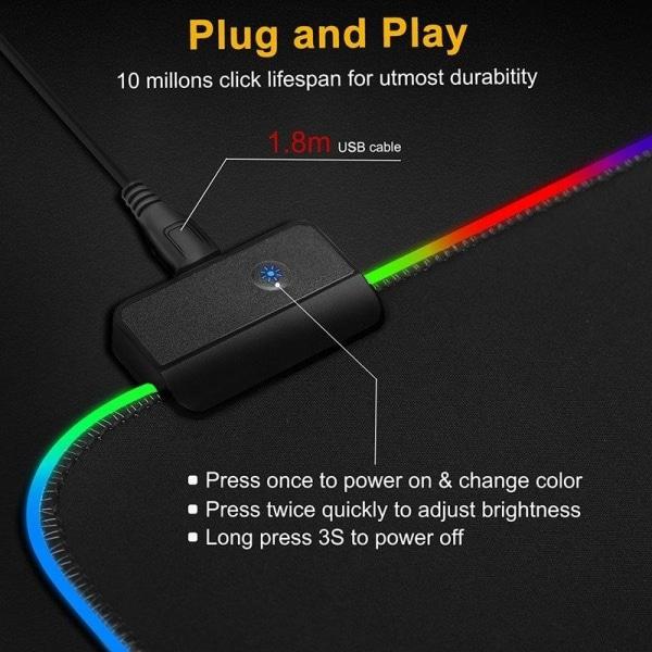 Gaming Musmatta med LED-ljus - 80x30cm - RGB