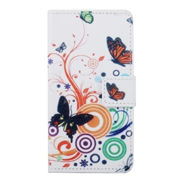 HTC One A9 Plånboksfodral Fjärilar Vit white