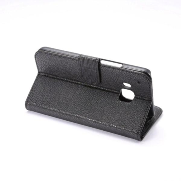 HTC One M9 Plånboksfodral Lyché Läder Svart Svart
