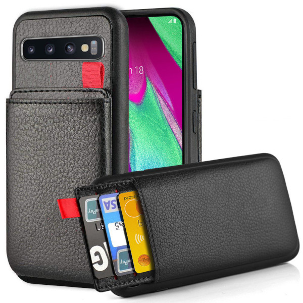 iPhone/Samsung/Huawei - Skal med Dolt Kortfack / Korthållare Black Samsung Galaxy S10 Plus