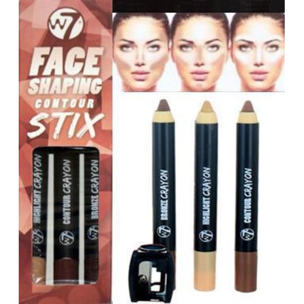 W7 Face 3 Contour Stix-Highlight, Bronzer&Contour Shade