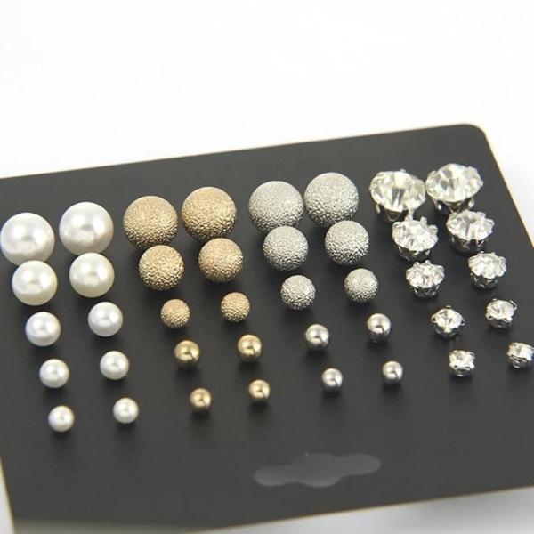 20 par Stud Örhängen - Silver & Guld Kulor, Kristaller & Pärlor Silver