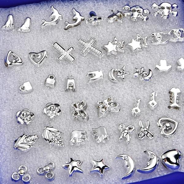 24 par Stud Silver Örhängen - Hjärta, Stjärna, Blomma & Döskalle Silver