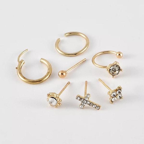 7 st Guld Örhängen - Ear Cuff, Rhinestones, Kors, Kula & Hoop Guld