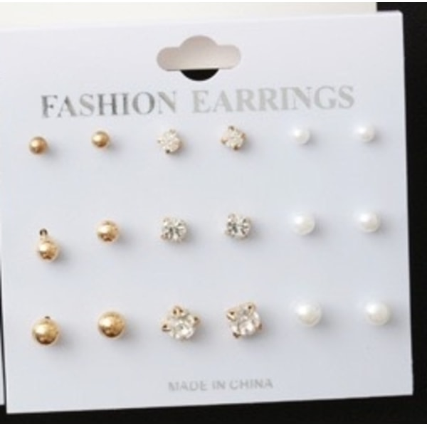 9 par Stud Örhängen - Guld Kulor, Vita CZ Kristaller & Pärlor Guld