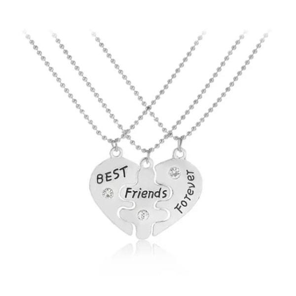 Best Friends Forever - 3 Silver Halsband -Hjärta med Rhinestones Silver
