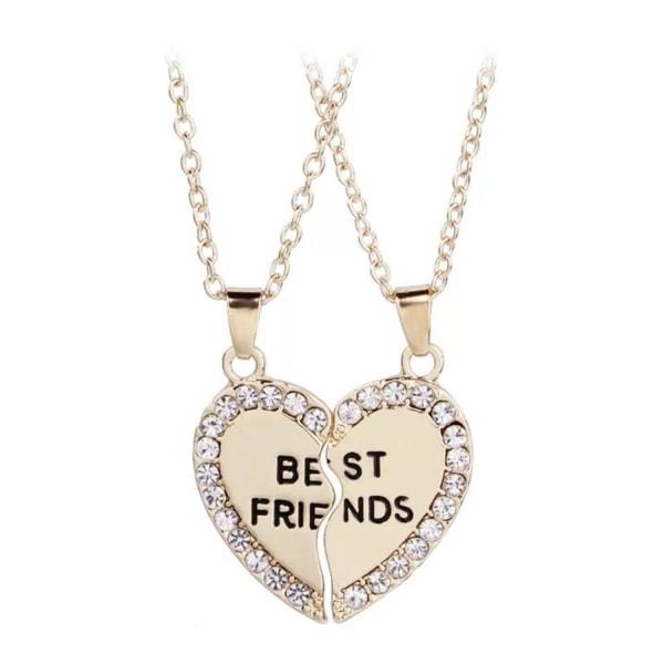 Best Friends / Kompis - 2 Guld Halsband - Hjärta med Rhinestones Guld