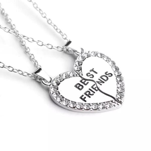Best Friends Kompis - 2 Silver Halsband - Hjärta med Rhinestones Silver
