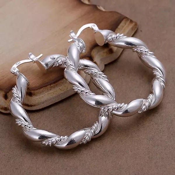 Blanka Ovala Hoop Silver Örhängen - Twist & Tvinnade Silver