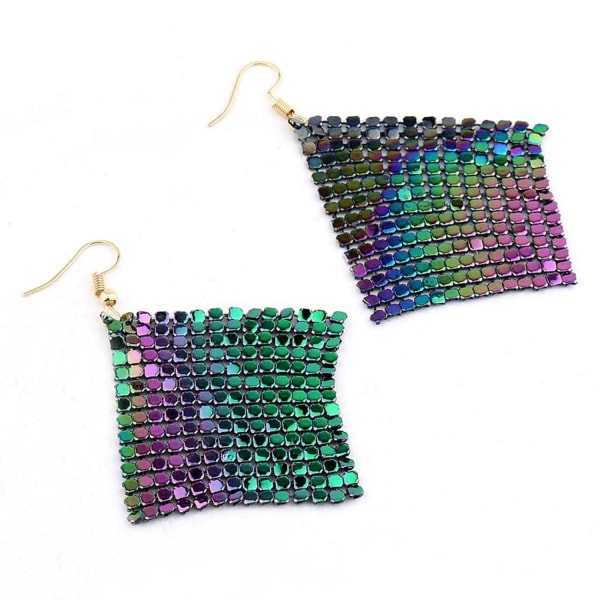 Glittrande Party Örhängen Hängande Fyrkanter i Regnbågens Färger Guld