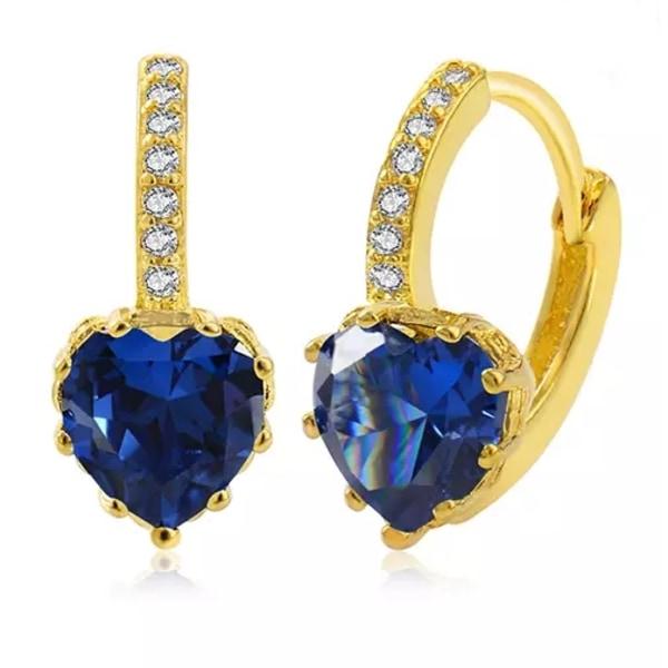 Guld Hoop Örhängen - Hjärta med Blå & Vita CZ Kristaller  Blå