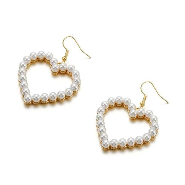 Guld Örhängen med Hjärtan & Vita Pärlor / Pärlörhängen  Guld
