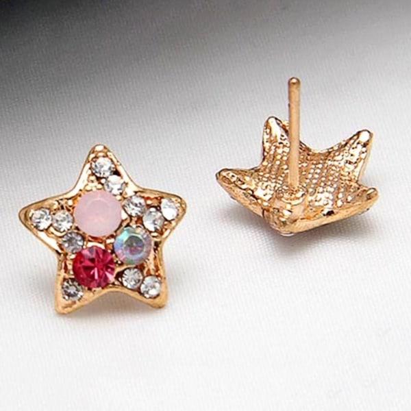 Guld Örhängen Stjärnor Stjärna med CZ Kristaller - Guldpläterade Guld