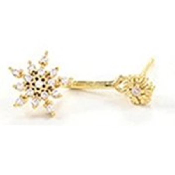 Guld Örhängen till Jul / Christmas - Snöflinga med Rhinestone Guld
