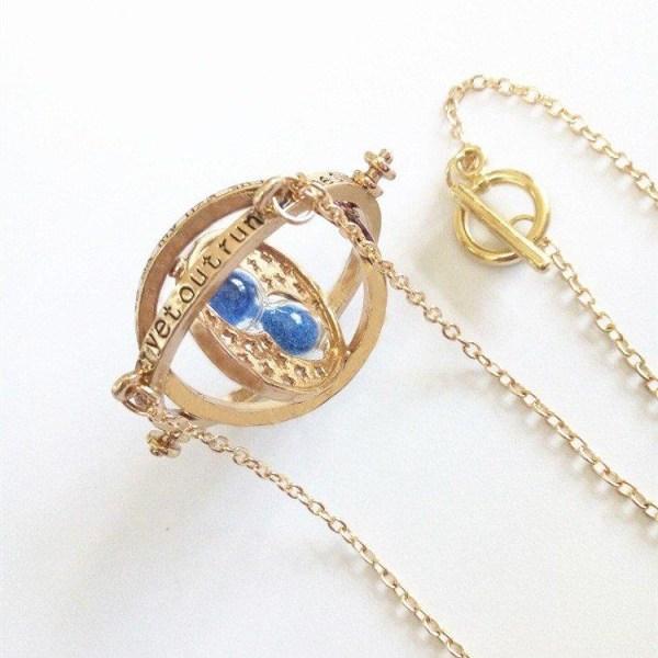 Harry Potter Guld Halsband - Hermiones Time Turner - Blå Sand Guld